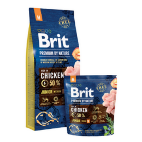 BRIT NATURE KUTYATÁP JUNIOR M (1-12 hó, 10-25kg) 15kg